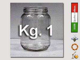 Vaso vetro regina per miele senza  capsula da 1000 gr. stock da 75 pezzi