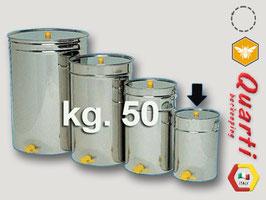 Maturatore inox quarti con rubinetto a taglio in plastica da 50 kg.