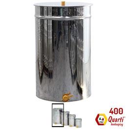 Maturatore inox quarti con rubinetto a taglio in plastica da 400 kg.