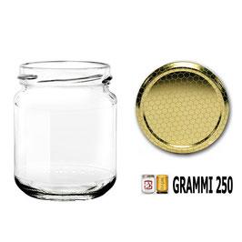 Vaso vetro  per miele con capsula da 250 gr. stock da 140 pezzi | 5 pacchi