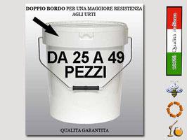 Secchiello in plastica alimentare con coperchio  per 25 kg. di miele (25 pezzi)