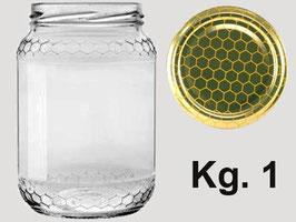Vaso vetro alveolo per miele con capsula da 1000 gr.
