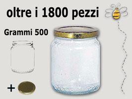 Vaso vetro alveolo per miele con capsula da 500 gr.
