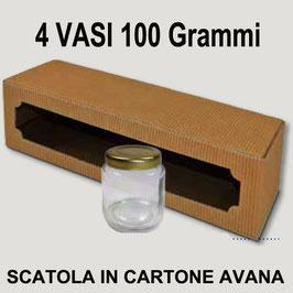 Scatola per miele | 4 vasi 100-110 gr.