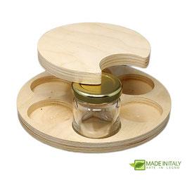 Porta vasetti 40 ml. in legno da 6 vasi