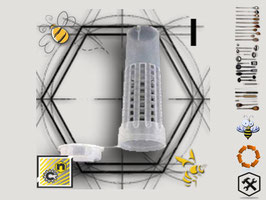 Elemento I -gabbietta escludi regina con tappo nutritore trasparente-