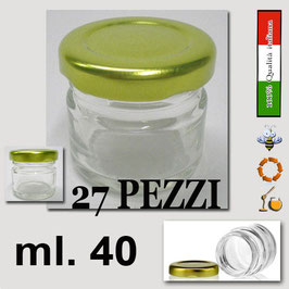 Vasetto vetro ml. 40 per assaggi con capsula Confezione da 27 pezzi