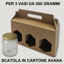 Scatola per miele | 3 vasi 500 gr.