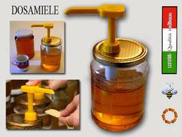 """Dosatore per miele giallo """"Quadro"""" su capsula da 500 e 1000 gr."""