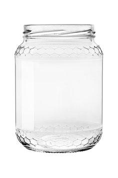 Vaso vetro alveolo per miele senza  capsula da 1000 gr. stock da 75 pezzi