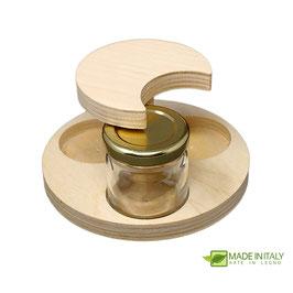 Porta vasetti 40 ml. in legno da 3 posti
