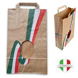Sacchetto in pregiata carta avana con bandiera Italiana e finestra in rete 22x36
