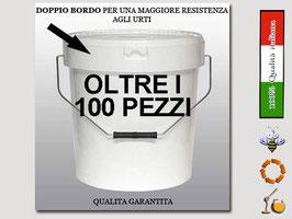 Secchiello in plastica alimentare con coperchio  per 25 kg. di miele (100 pezzi)