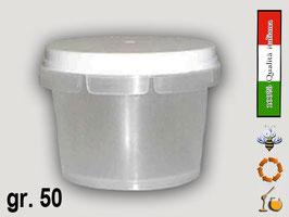 Vaso in plastica gr. 50 per assaggi miele