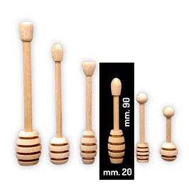 Spargimiele in legno di faggio piccolo allungato mm. 90