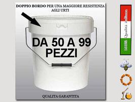 Secchiello in plastica alimentare con coperchio  per 25 kg. di miele (50 pezzi)