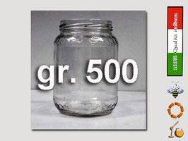 Vaso vetro regina per miele senza  capsula da 500 gr. stock da 120 pezzi