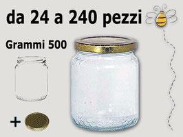Vaso vetro alveolo per miele con capsula da 500 gr. stock da 120 pezzi