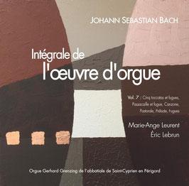 Bach, volume VII, 2 CD : 5 Toccatas et fugues, Passacaille et fugue, Pastorale, Canzona, 8 Petits Préludes et fugues, pièces diverses. Orgue Grenzing de Saint-Cyprien en Périgord.