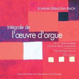 Bach, volume IV, 2 CD : Chorals de Leipzig, Chorals de Weimar (versions initiales du recueil de Leipzig), Chorals divers. Orgue historique Köhler de Suhl (Thuringe)
