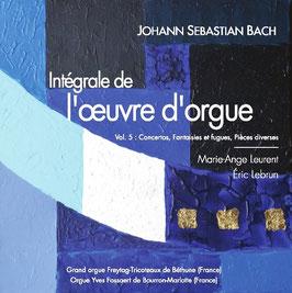 Bach, volume V, 2 CD : Concertos, Fantaisies et fugues, Fantaisies, pièces diverses. Orgues Freytag de Béthune et Yves Fossaert de Bourron-Marlotte.