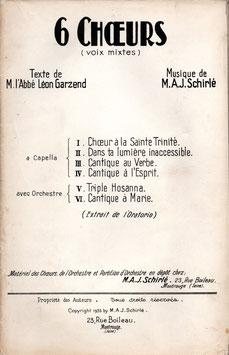 Auguste Schirlé : Six choeurs (voix mixtes) extraits de l'Oratorio