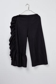 FRILL WOOL PANT BLACK