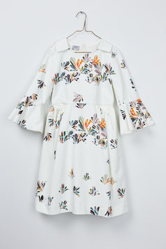 COLLAR DRESS SCATTERED LEAVES