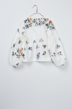 GATHER BLOUSE SCATTERED LEAVES