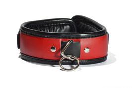 Halsband Leder rot-schwarz