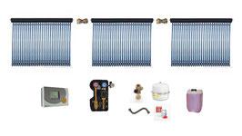 Solaranlage 12 m² Röhrenkollektoren - Komplettset