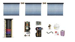Solaranlage 12 m² + Solarspeicher 1000 l + Frischwasserstation- Komplettpaket