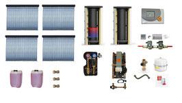Solaranlage 16 m² inkl. Pufferspeicher + Frischwasserstation + Zubehör