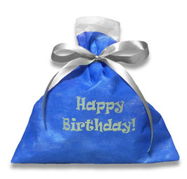 Happy Birthday! 不織布バッグ ブルー