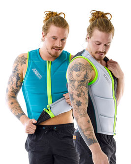 Reversible Comp Vest Men Zipper Teal