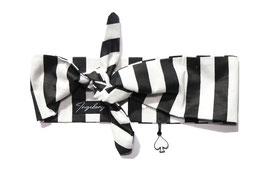 Haarband Bandana Black white Stripe