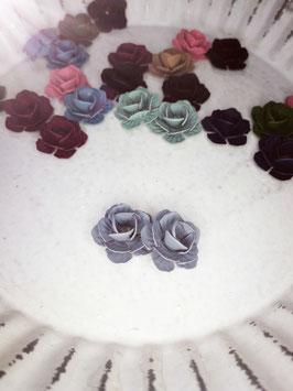 Ohrring Blumen grau blau