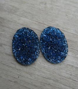 oval blue Glitzer