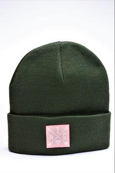 Beanie grün pink