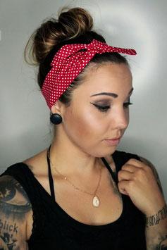 Bandana / Haarband rot mit Punkten