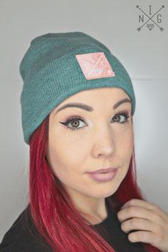 Beanie blau grün pink