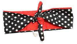 Haarband Bandana rot schwarz Dots