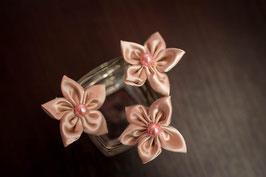 Collection Or, menthe et rose poudré – Epingles à chignon, coiffure mariée, fleurs en tissu