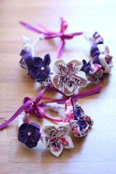 Collection Claire. Couronne de fleurs éternelles en tissu rose,violet et beige