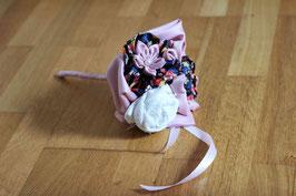 Collection Annaïck. Mini bouquet original demoiselle d'honneur en fleurs éternelles en tissu blanc, rose poudré et fleuri