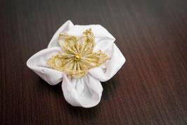 Collection Réveillon – Barrette petite fille en fleurs en tissu