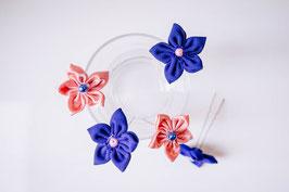 Collection Céline, rose et bleu – Épingles à chignon en fleurs en tissu, rose et bleu