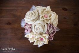 Collection Shabby chic – Bouquet de mariée en fleurs en tissu