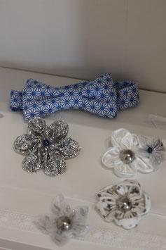 Collection Hiver – Nœud papillon marié hiver en coton bleu