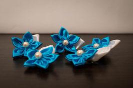 Collection Aude. Boutonnière marié fleur en tissu turquoise et pétale blanc